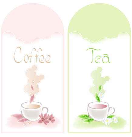 tea and coffee banners with flowers Stock Vector - 8134788