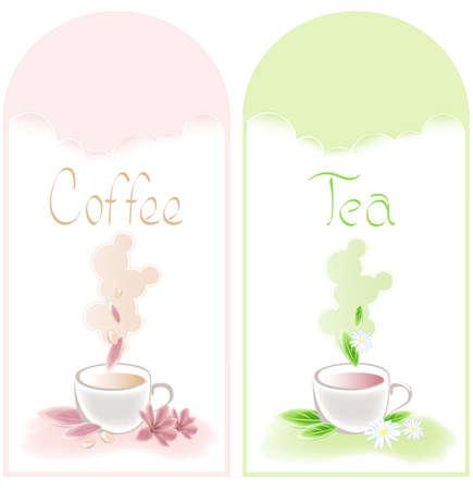 chamomile tea: tea and coffee banners with flowers