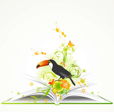splashed: open green book with flowers and tropical bird