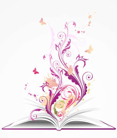 background with open book, floral ornament and butterflies