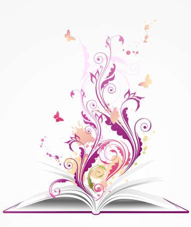 libro abierto: Fondo con libro abierto, ornamentos florales y mariposas