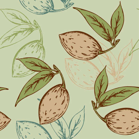 seamless pattern with almond on a green background