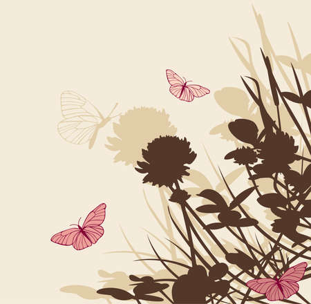 floral background with clover flowers and butterflies Illustration