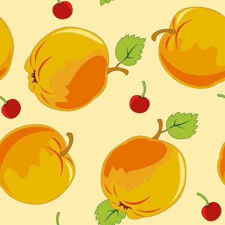 seamless pattern with apple on a yellow background Stock Vector - 8383107