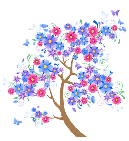 violet red: blue flowering tree and butterflies on a  white background Illustration