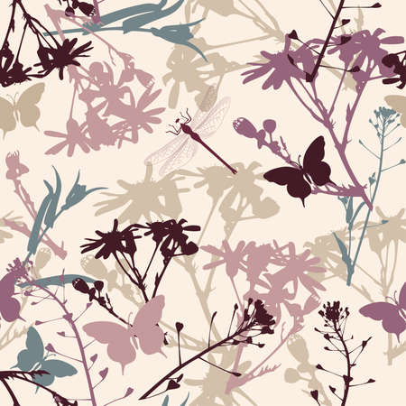 floral seamless pattern with butterflies and dragonfly Illustration