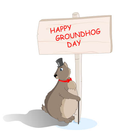 marmot: cute groundhog day vector background