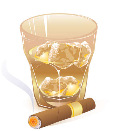glass of whiskey and  smoking cigar