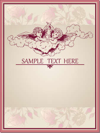 vintage Valentines Day greeting card with angels and roses Vector