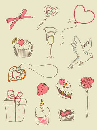 doodle hand drawn Valentines Day  elements for design Vector