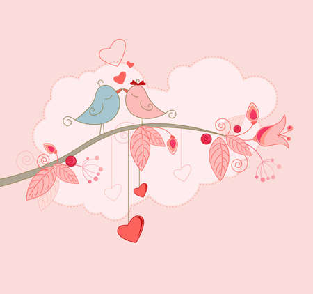 Valentines Day greeting card  with kissing birds Illustration