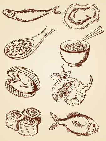 caviar: ensemble de fruits de mer de main dessin� dans le style r�tro