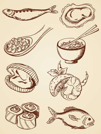 set of   hand drawn seafood in retro style