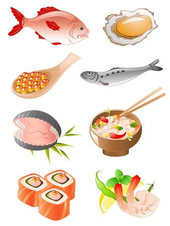 almeja: conjunto de iconos de pescados y mariscos