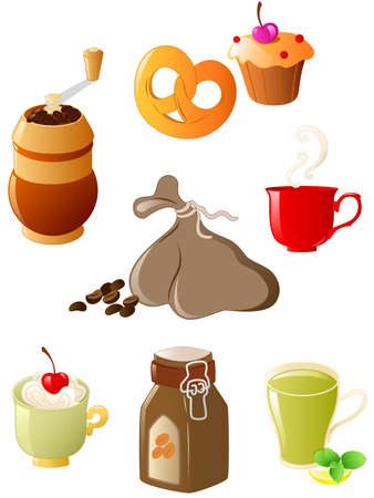 coffee sack: set of glossy coffee and tea icons