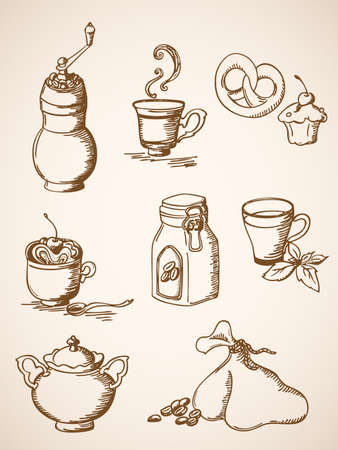 coffee sack: set of hand drawn  coffee icons in retro style