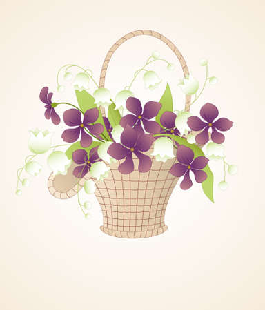 bouquet of violets and lilies of the valley in the basket Stock Vector - 8858571