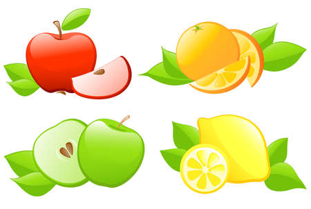 set of glossy fruit icons Vector