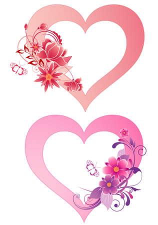 papillon rose: coeur rouge avec des fleurs