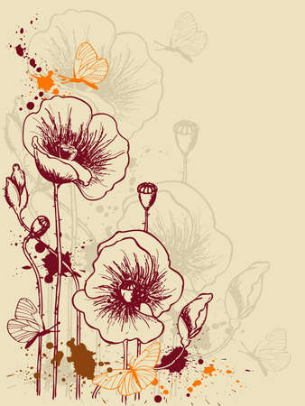 grunge floral background with red poppies