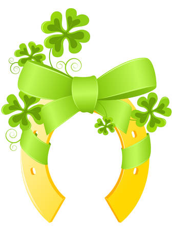 Saint Patricks Day background with horseshoe and four leaf clover Vector