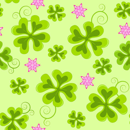 Saint Patricks Day seamless pattern with  four leaf clover Vector