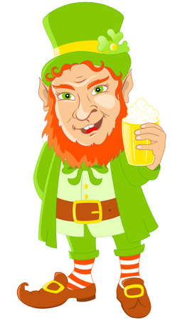 Leprechaun with mug of beer for St Patricks Day Vector