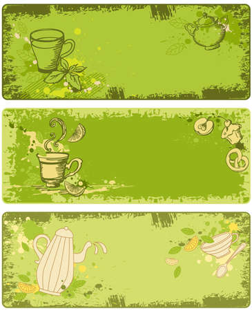 set of green tea banners in grunge style Illustration