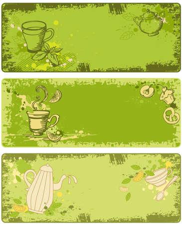 green tea leaf: set of green tea banners in grunge style Illustration