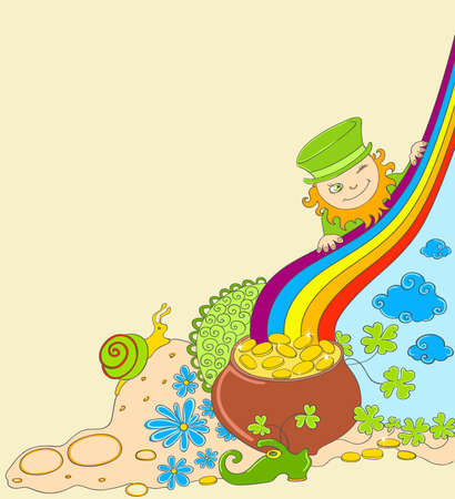 St Patricks Day background with leprechaun and pot of gold Vector