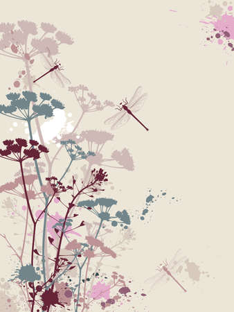 Background with flowers,dragonfly and grunge effect Stock Vector - 8984544