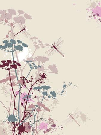 Sfondo con fiori, effetto libellula e grunge Archivio Fotografico - 8984544