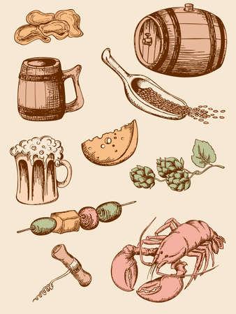 malto d orzo: set di icone di mano disegnato birra vintage