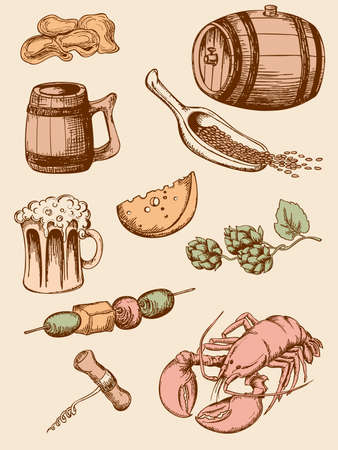 barley hop: set of hand drawn vintage beer icons
