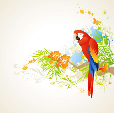 green parrot: summer background with ornament and parrot