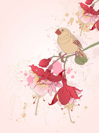 hand drawn vector floral background with bird Illustration