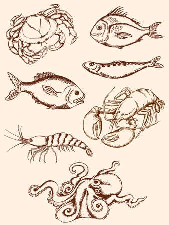 pescados y mariscos: conjunto de iconos de mariscos cosecha dibujado a mano