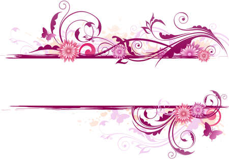 floral ornaments: Floral background with ornament and pink flowers