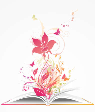 background with open book, pink flower and butterflies Illustration