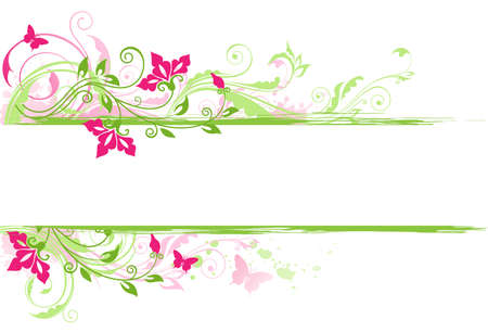 flower banner: Floral background with green ornament and red flowers