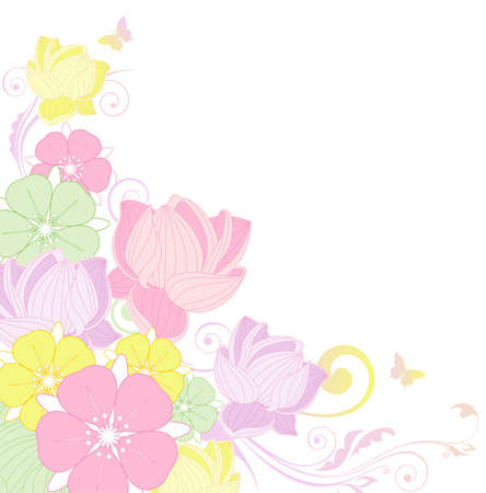 colorful floral background with lotus flower Vector