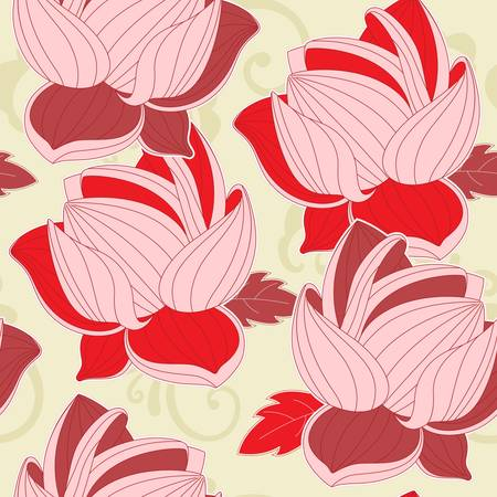 floral seamless pattern with  red lotus Vector