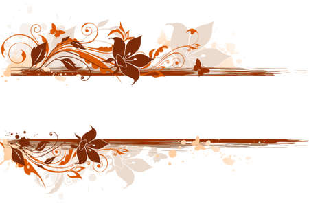 Floral  background with ornament and orange flowers