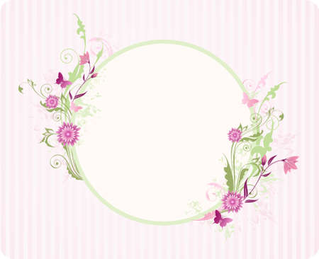 round banner with floral ornament and pink flowers Stock Vector - 9348879
