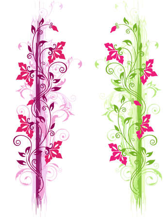 violeta: Adorno floral grunge con ornamentos verdes y violetas y flores rojas Vectores