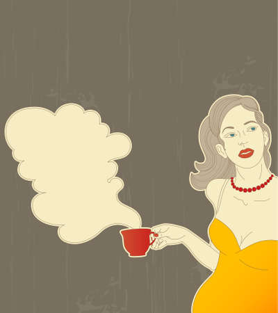 woman drinking tea: retro girl with red steaming cup of coffee in her hand