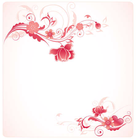 vector floral background with ornament and red rose Illustration