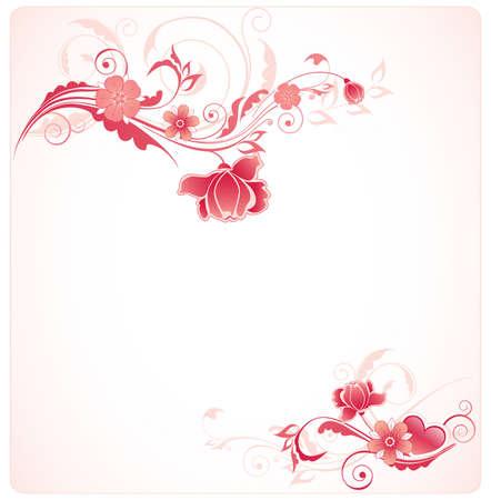 róża: Wektor kwiatowym tÅ'em a ozdobnym na przedzie i czerwona róża