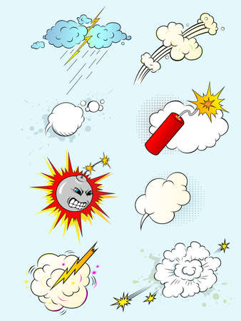 serie di esplosioni di variopinte fumetto vettoriale