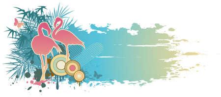 retro blue summer banner with flamingo Иллюстрация